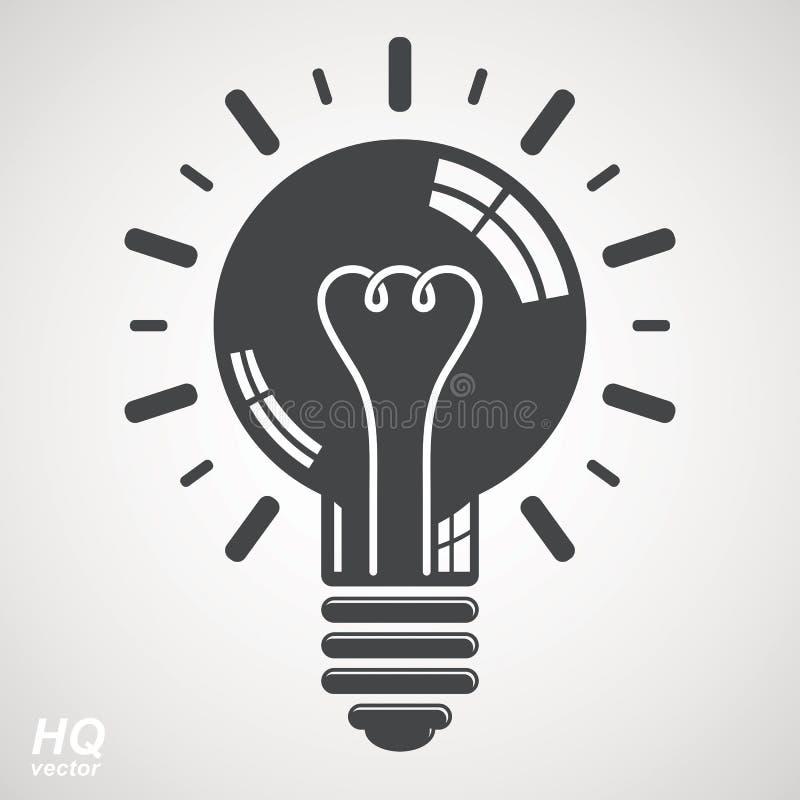 Het symbool van de elektriciteits gloeilamp dat op witte achtergrond wordt geïsoleerd Vect royalty-vrije illustratie