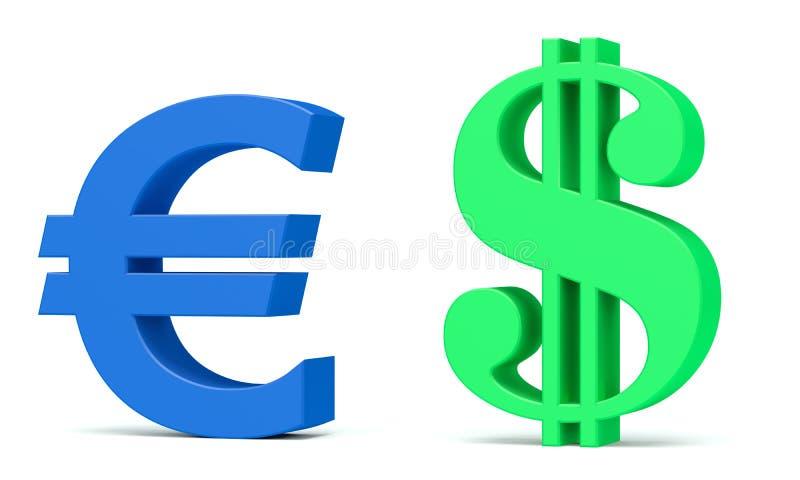 Het symbool van de euro en van de dollar stock illustratie