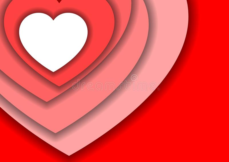 Het symbool van de hartliefde voor de dag van Valentine van rood, wit en roze document sneed lagen met schaduwen voor banner, aff vector illustratie