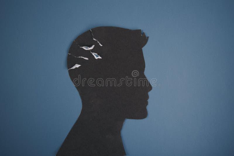 Het symbool van de hersenenwanorde dat door menselijk hoofd gemaakt wordt voorgesteld tot vormdocument Creatief idee voor de ziek royalty-vrije illustratie