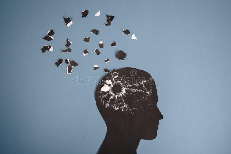 Het symbool van de hersenenwanorde dat door menselijk hoofd gemaakt wordt voorgesteld tot vormdocument Creatief idee voor de ziek stock illustratie