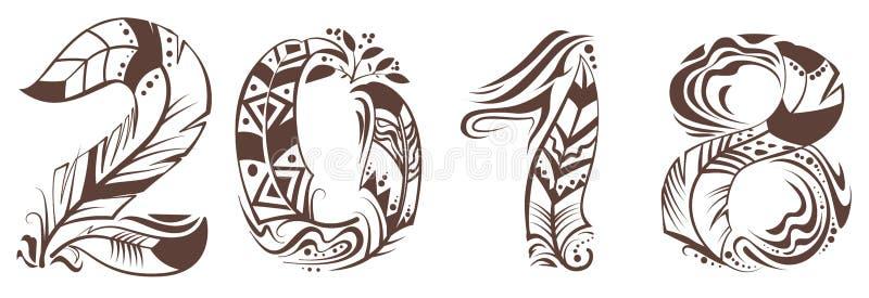 het symbool van de het jaarvogelveer van 2018 royalty-vrije illustratie