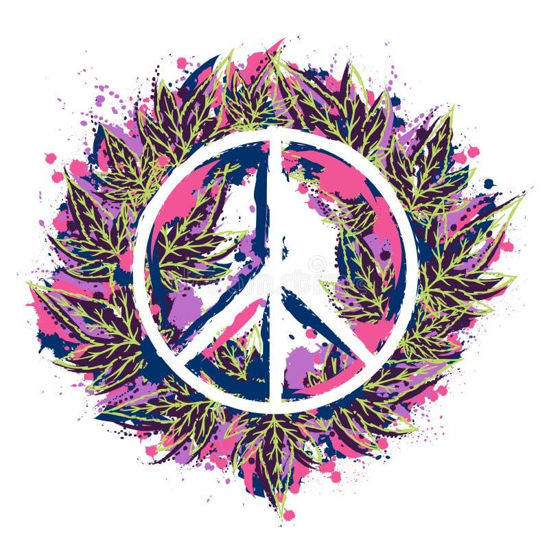 Het symbool van de hippievrede met cannabisbladeren in waterverfstijl Hippiethema stock illustratie