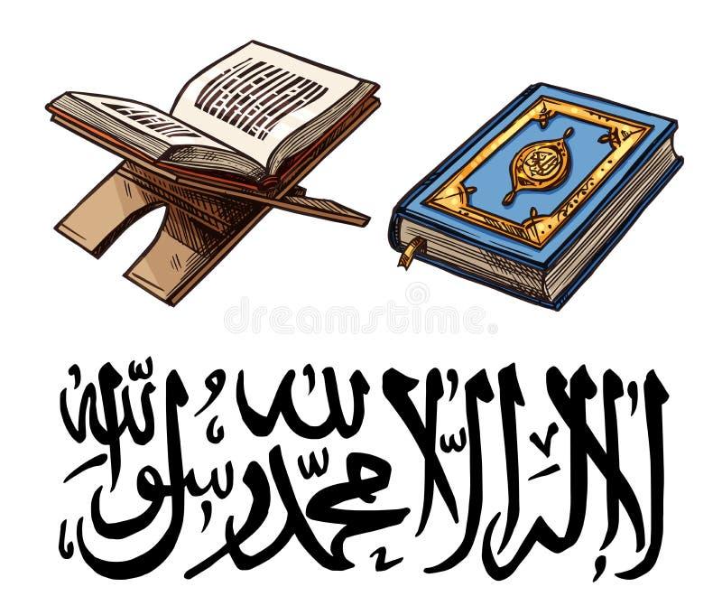 Het symbool van de islamgodsdienst met Quaran-boek op tribune royalty-vrije illustratie