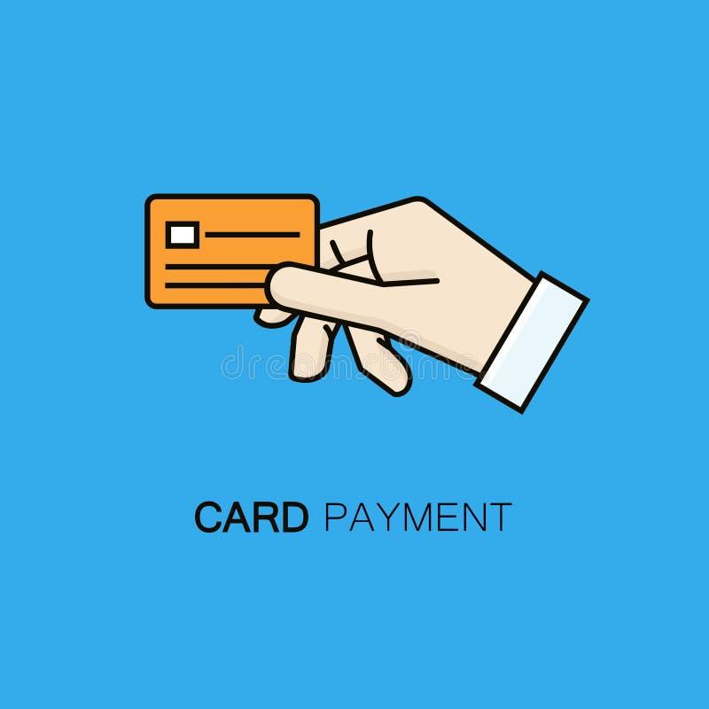 Het symbool van de kaartbetaling - de vectorillustratie van de lijnstijl met de creditcard van de handholding vector illustratie