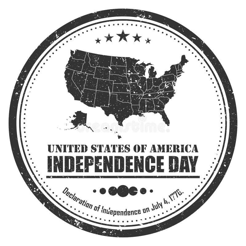 Het symbool van de de kaartzegel van Amerika Het ontwerp van Grunge vierde van juli-het concept van de Onafhankelijkheidsdag Vect stock illustratie