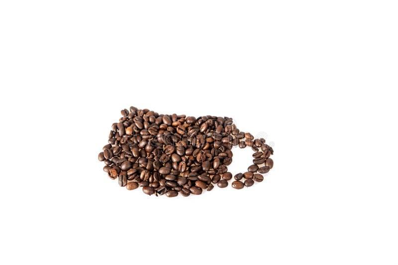 Het symbool van de de koffiemok van koffiebonen stock afbeeldingen