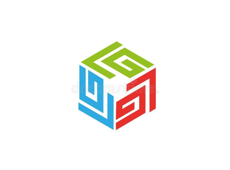 Het symbool van de labyrinttechnologie voor embleem stock illustratie