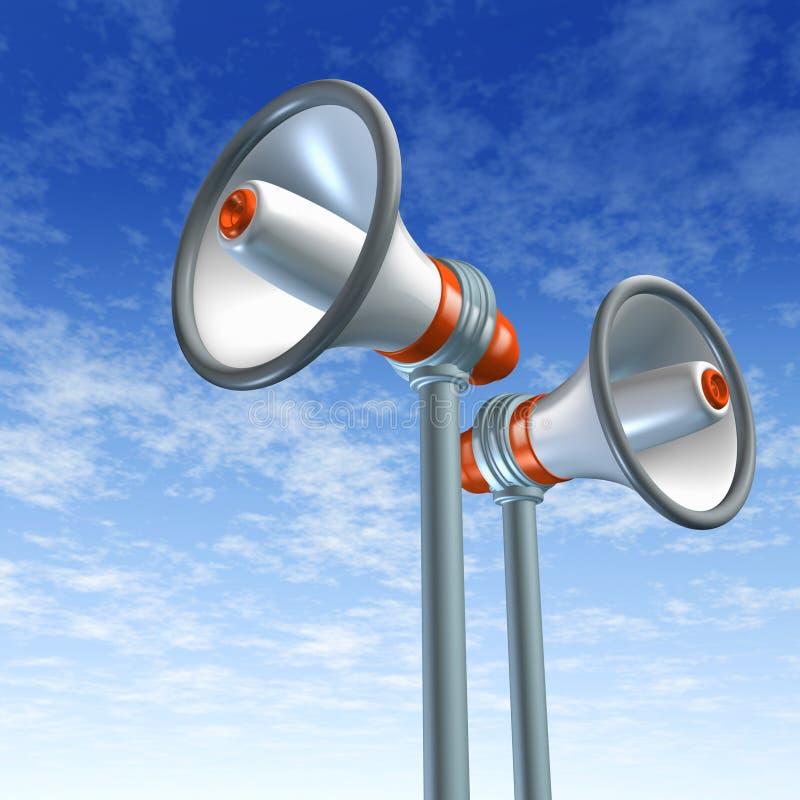 Het symbool van de megafoon en van de megafoon vector illustratie