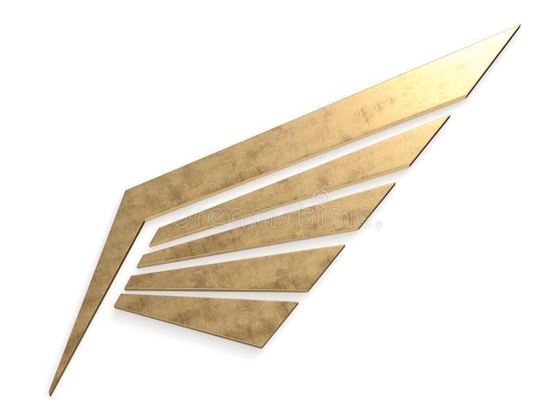 Het symbool van de metaalvleugel het 3d teruggeven stock afbeelding