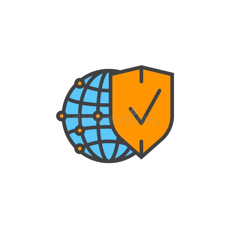 Het symbool van de netwerkbescherming Bol en schild gevuld lijnpictogram, royalty-vrije illustratie