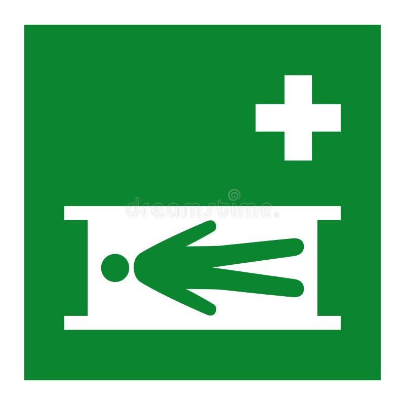 Het Symbool van de noodsituatiebrancard isoleert op Witte Achtergrond, Vectorillustratie EPS 10 stock illustratie