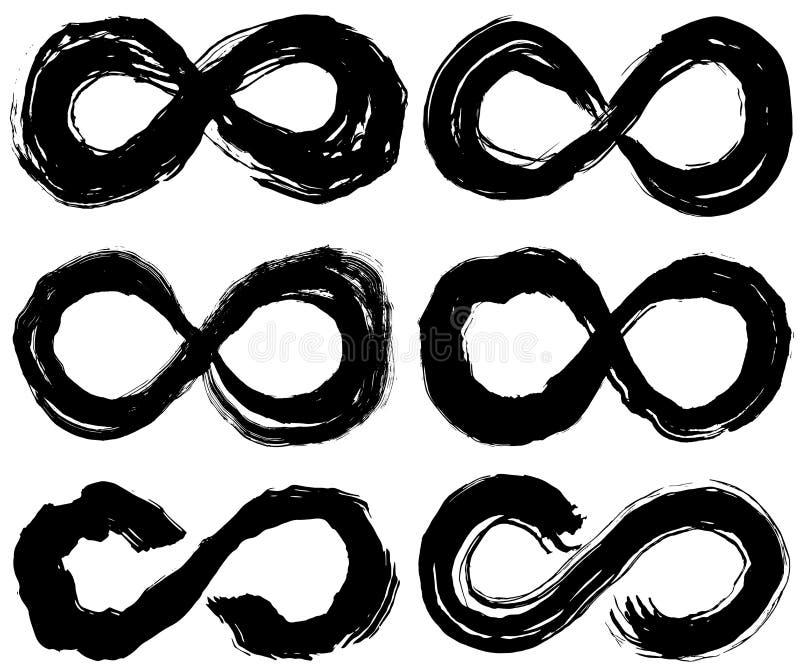 Het symbool van de oneindigheid de illustraties van de borstelslag stock illustratie