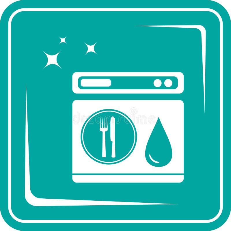 Het symbool van de pictogramafwasmachine vector illustratie