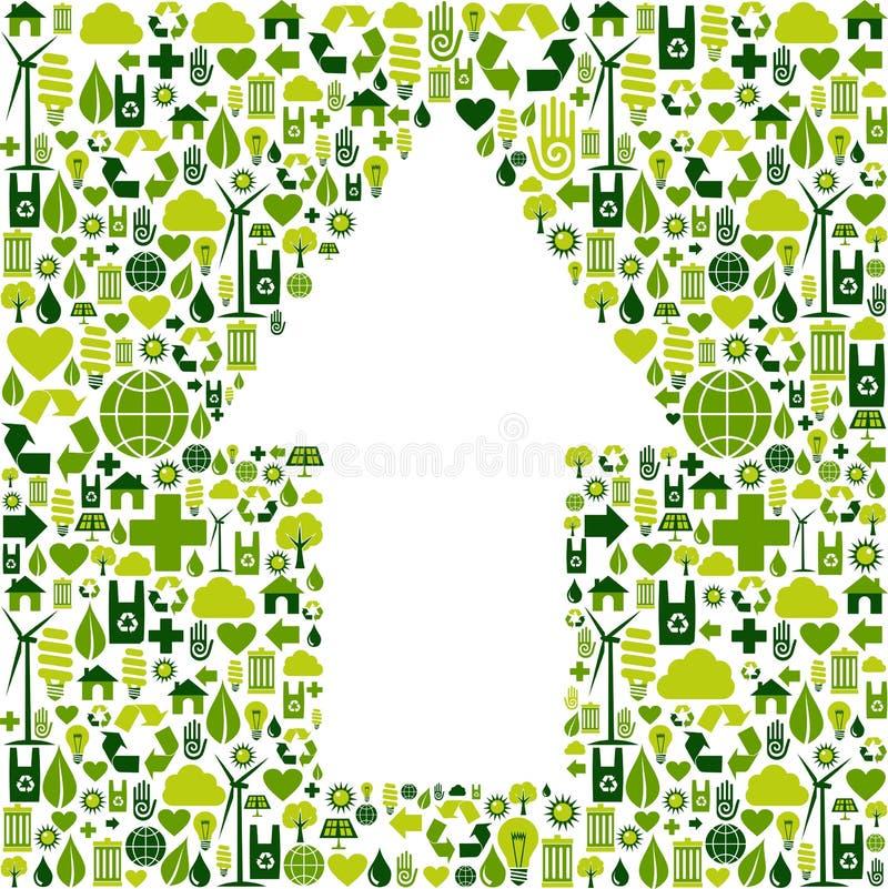 Het symbool van de pijl in de pictogrammen van de milieuzorg royalty-vrije illustratie