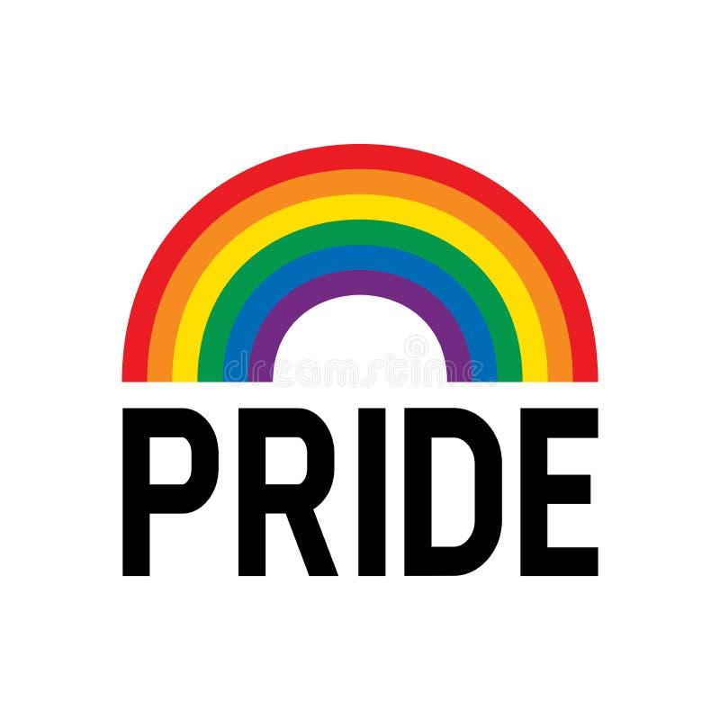 Het symbool van de de regenboogvlag van de trotsmaand De gebeurtenisviering van de trotsmaand op witte achtergrond wordt ge?solee royalty-vrije illustratie