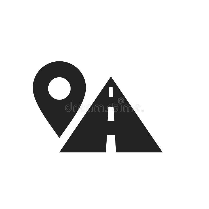 Het symbool van de routeplaats, het teken van de kaartspeld en weg, zwart pictogram stock illustratie
