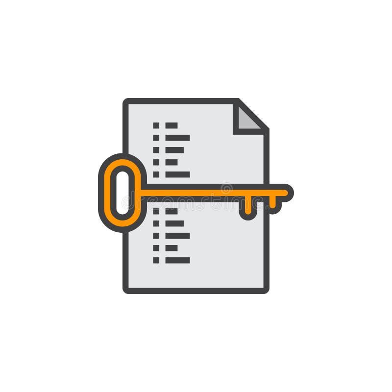 Het symbool van de sleutelwoordlijst Sleutel en documentlijnpictogram, gevuld overzicht royalty-vrije illustratie