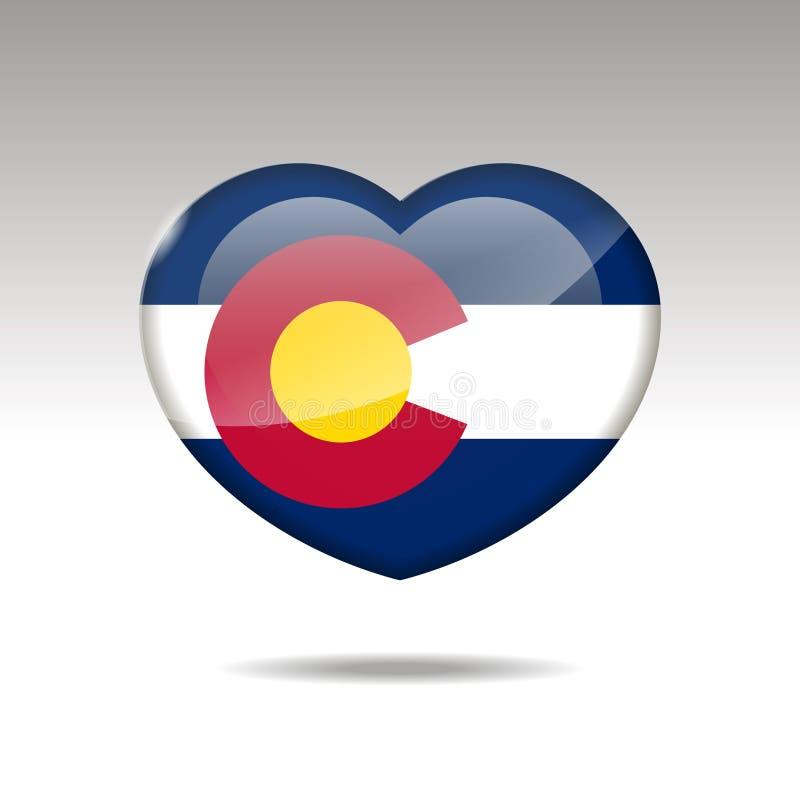 Het symbool van de staat van liefdecolorado Het pictogram van de hartvlag 10 eps royalty-vrije illustratie