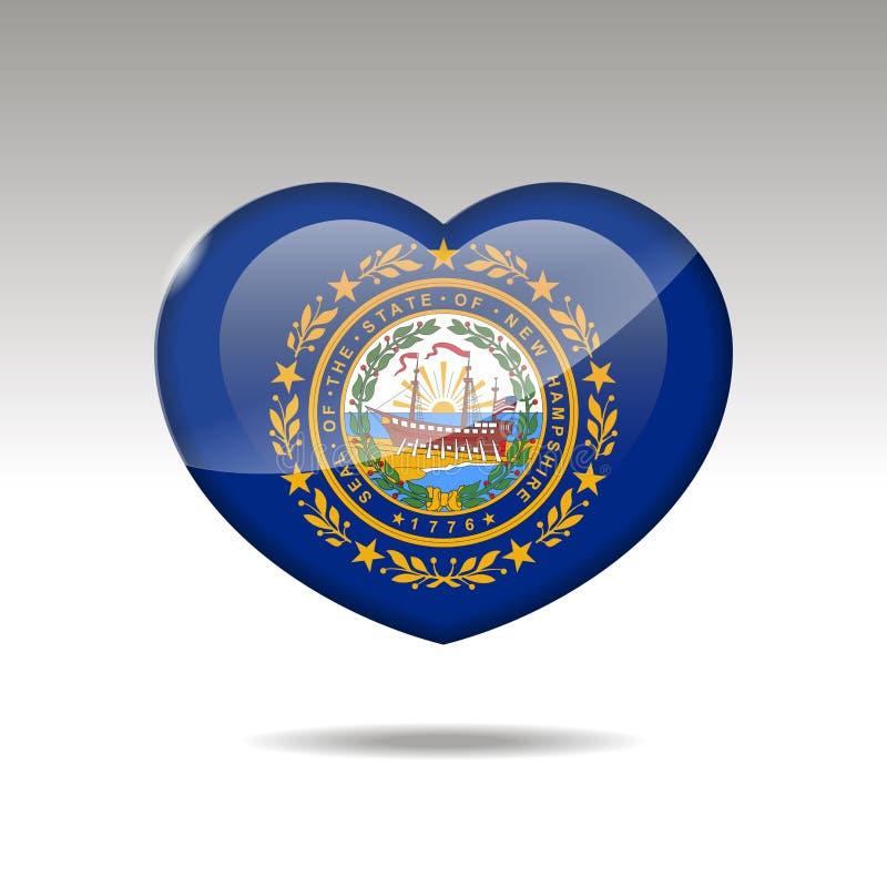 Het symbool van de staat van liefdenew hampshire Het pictogram van de hartvlag 10 eps stock illustratie