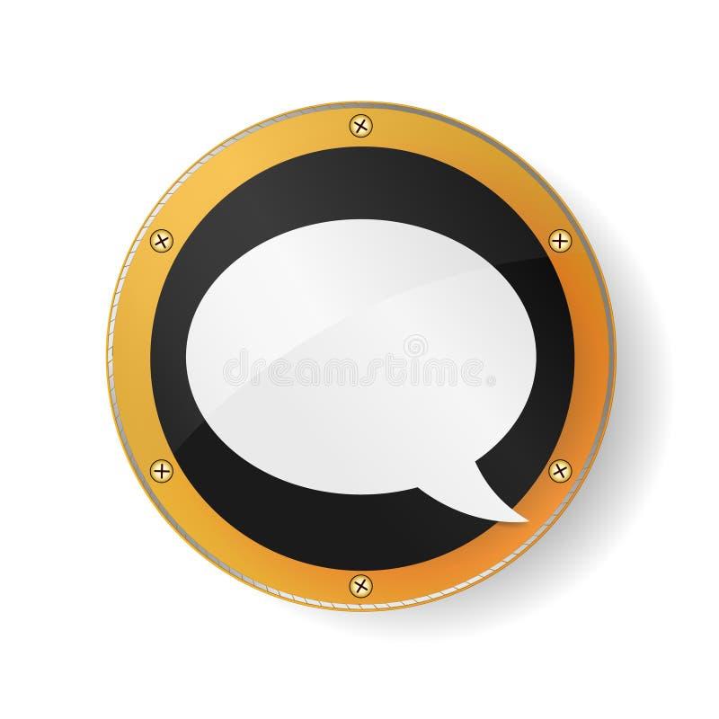 Het Symbool van de toespraakbel in gouden, oranje kader Heilige Meetkunde Geïsoleerdeo illustratie EPS10 vector illustratie
