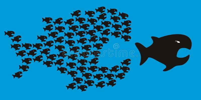 Het symbool van de unie is sterkte met kleine vissen in achtervolging van groot royalty-vrije illustratie