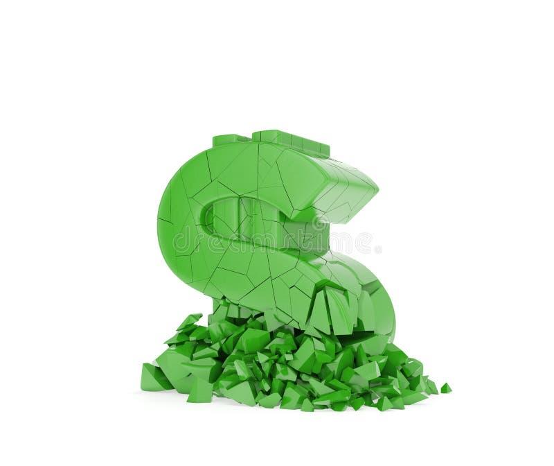 Het symbool van de verbrijzelingsdollar royalty-vrije illustratie