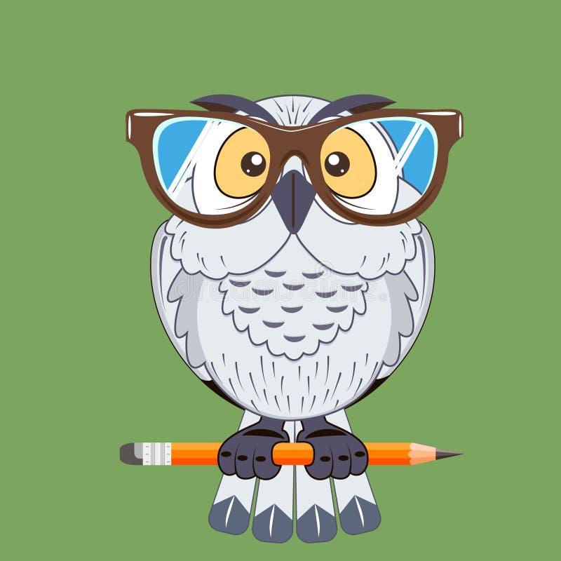 Het symbool van de vogeluil van wijsheid stock illustratie
