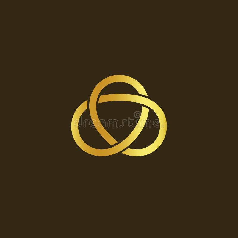 Het symbool van de wetenschapstechnologie Gouden knoop van gouden draad Eenvoudig labyrint, Keltische mascotte Geïsoleerd ongebru stock illustratie