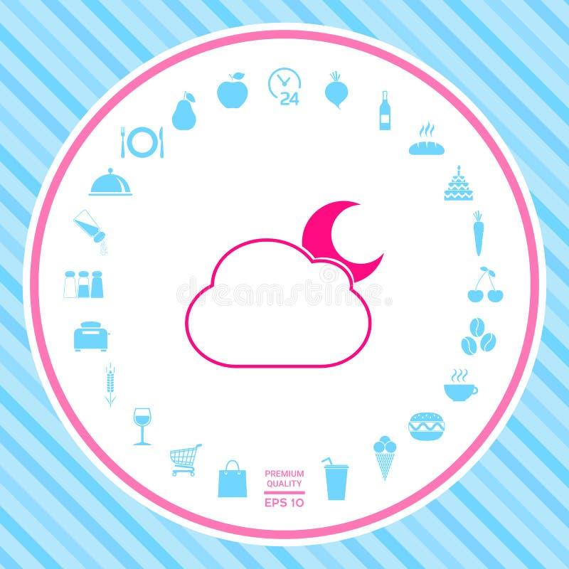 Het symbool van de wolkenmaan - pictogram vector illustratie