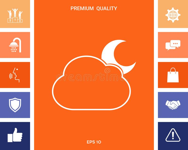 Het symbool van de wolkenmaan - pictogram royalty-vrije illustratie