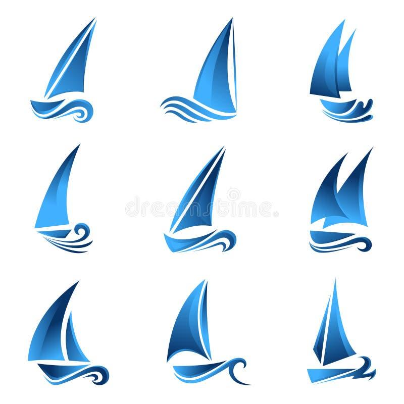 Het symbool van de zeilboot stock illustratie