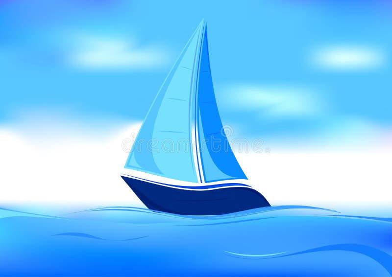 Het symbool van de zeilboot royalty-vrije illustratie