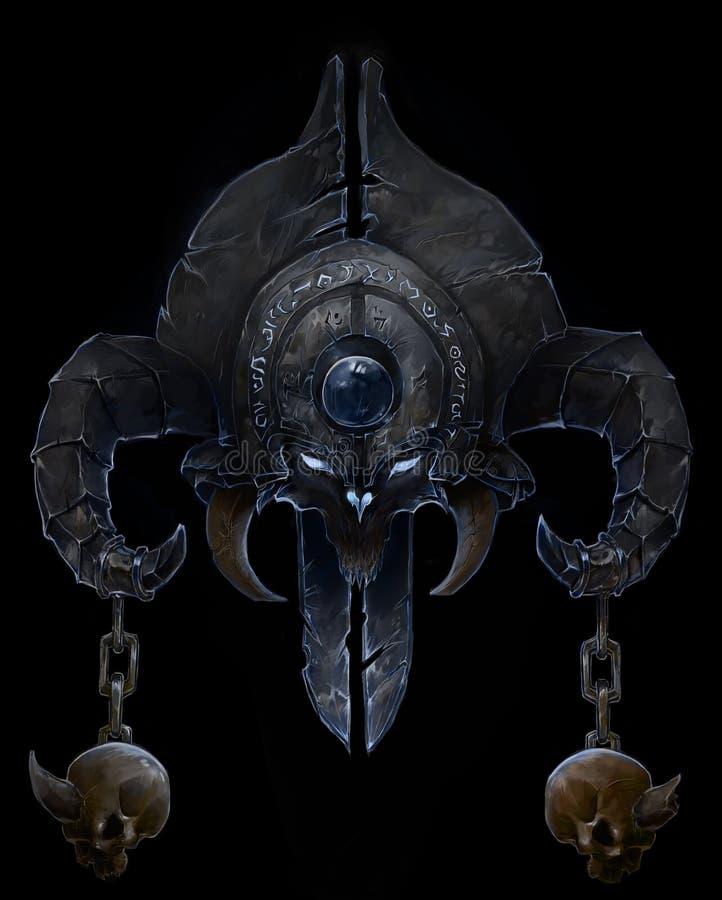 Het symbool van het demon, met hoornen die een schedel houden stock illustratie
