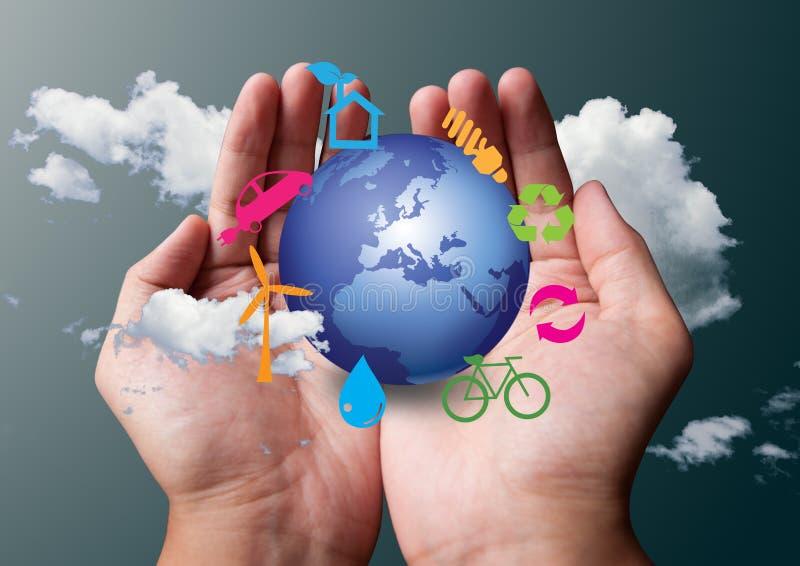 Het symbool van Eco in handen royalty-vrije illustratie