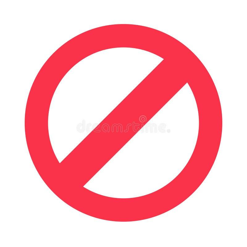Het symbool van het eindeteken Waarschuwend tegenhoudend pictogram, verbiedend karakter of het signaal geïsoleerd vectorpictogram royalty-vrije illustratie