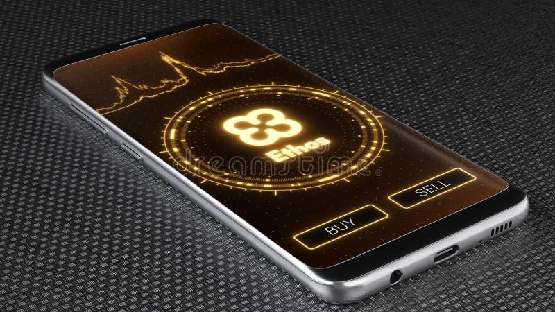 Het symbool van ethoscryptocurrency op het mobiele toepassingscherm 3D Illustratie stock illustratie