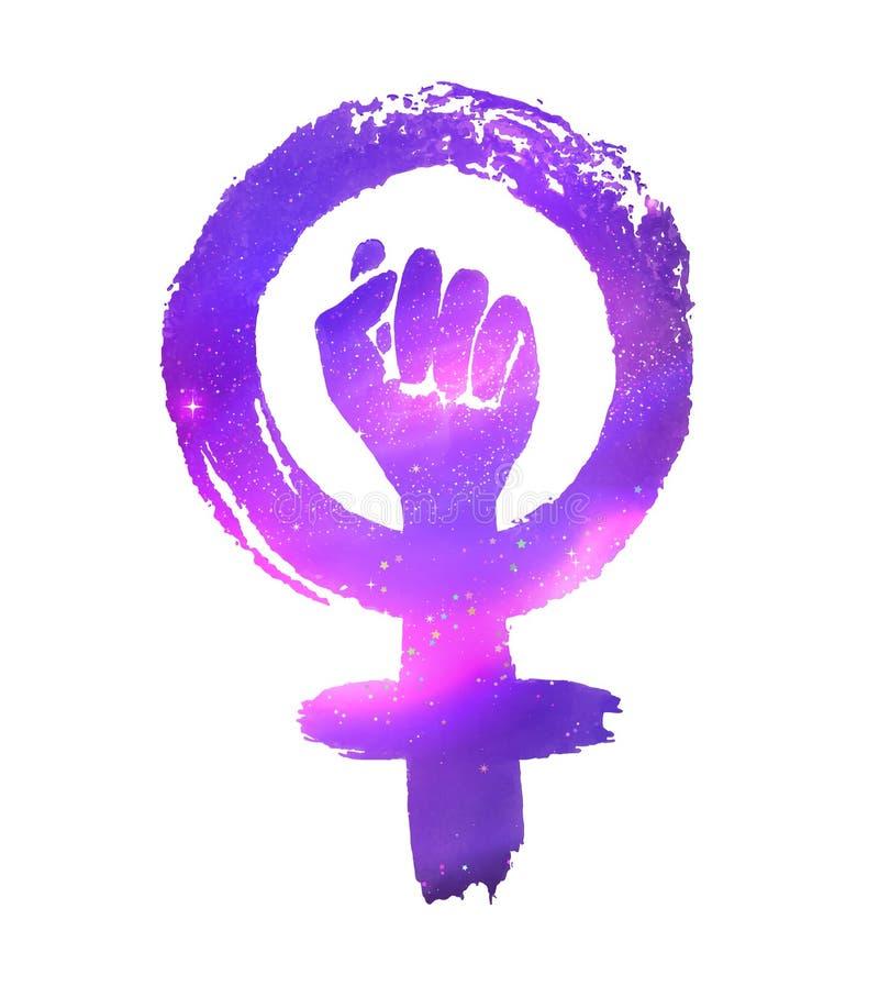 Het symbool van het feminismeprotest met kosmische ruimte royalty-vrije illustratie