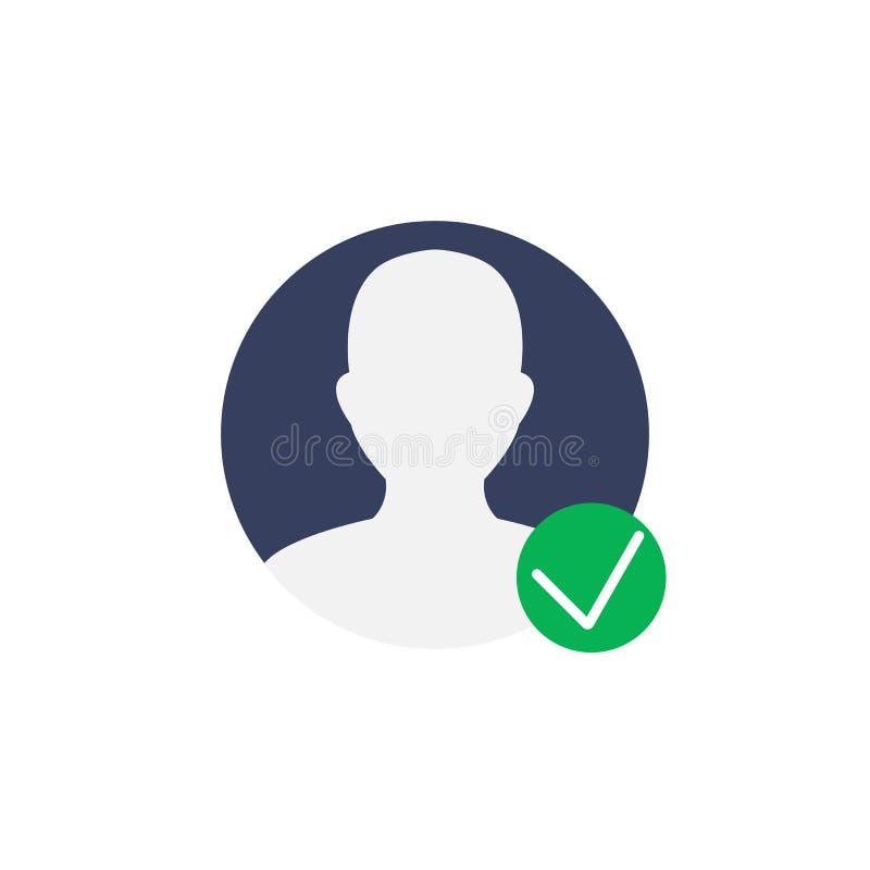Het symbool van het gebruikersprofiel met vinkje geverifieerde vecto van het rekeningspictogram royalty-vrije illustratie