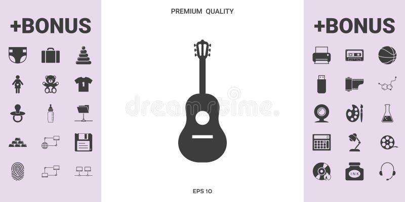 Het Symbool van het gitaarpictogram stock illustratie