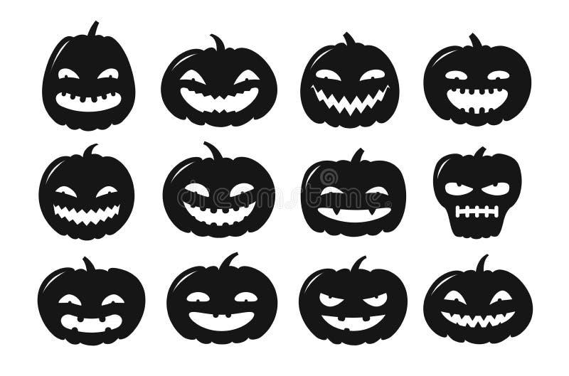 Het symbool van Halloween De reeks van het pompoenpictogram Silhouetvector royalty-vrije illustratie