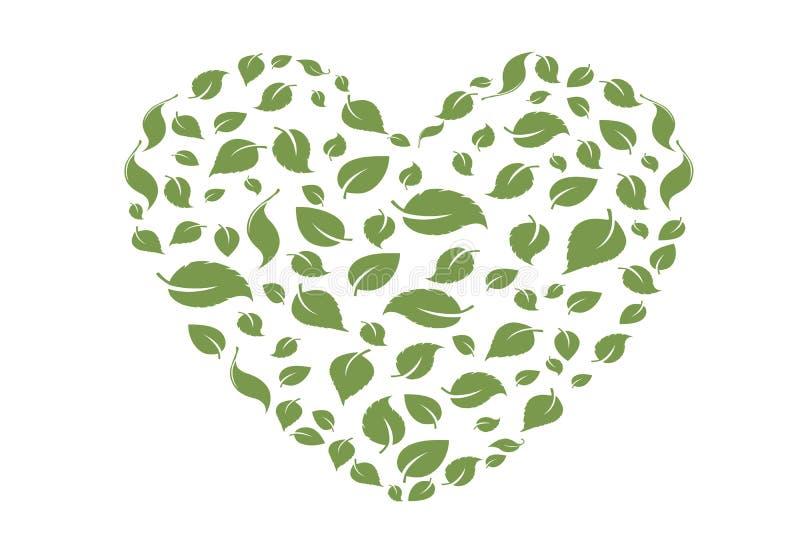 Het symbool van het hart in groene bladeren Vector eco biobladeren in het groene pictogram van de hartliefde op witte achtergrond vector illustratie