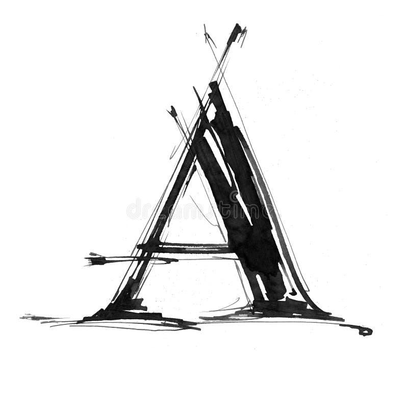 Het symbool van het alfabet - voorzie A van letters stock illustratie