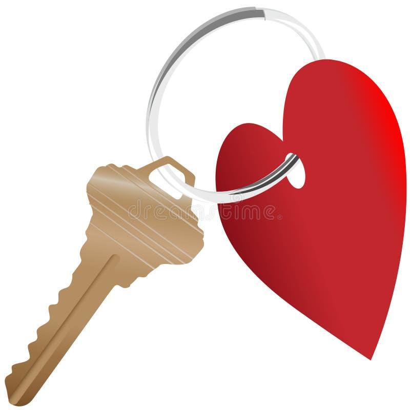 Het symbool van het hart en huissleutel op een glanzende sleutelring royalty-vrije illustratie