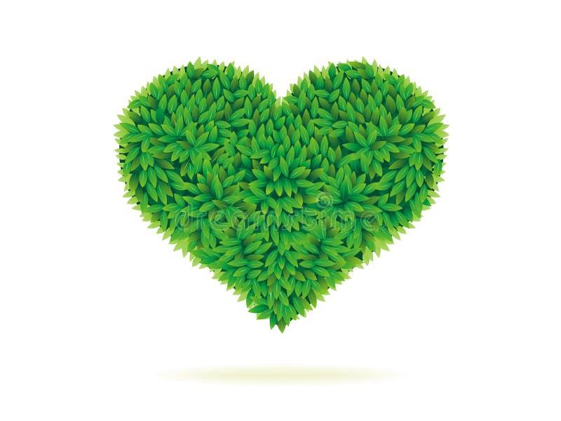 Het symbool van het hart in groene bladeren vector illustratie