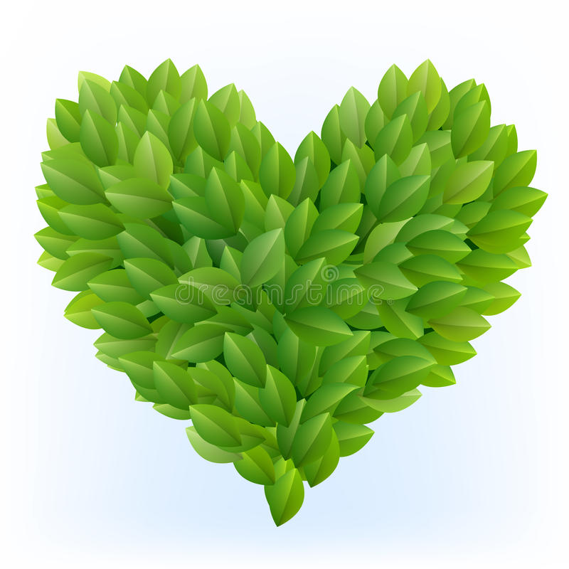 Het symbool van het hart in groene bladeren royalty-vrije illustratie