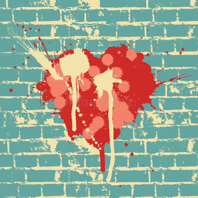 Het symbool van het hart op bakstenen muur stock illustratie
