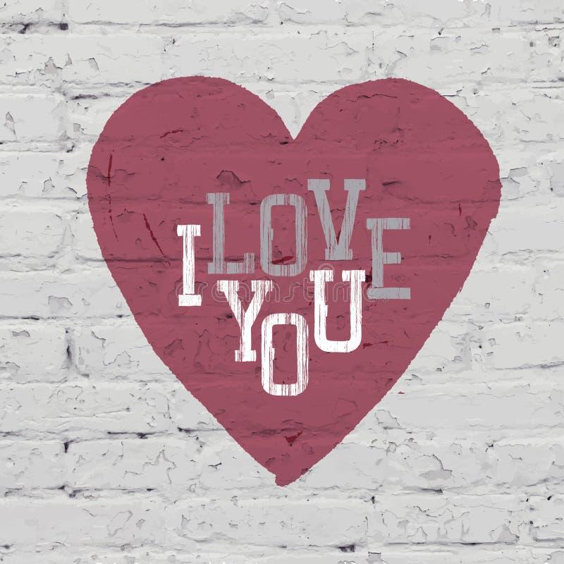 Het symbool van het hart op bakstenen muur Vector royalty-vrije illustratie