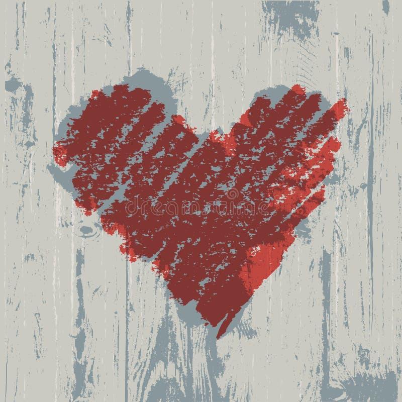 Het symbool van het hart op houten textuur. vector illustratie