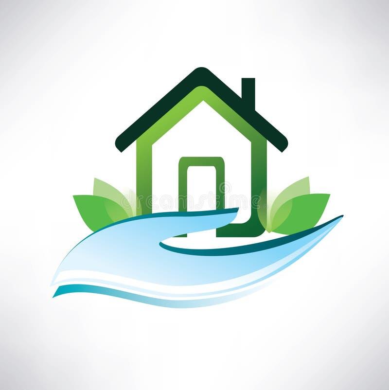 Het symbool van het huis op de palm vector illustratie